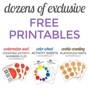 Free printables from The Art Kit for number practice, letter recognition, easy cutting and pasting crafts @theartkit
