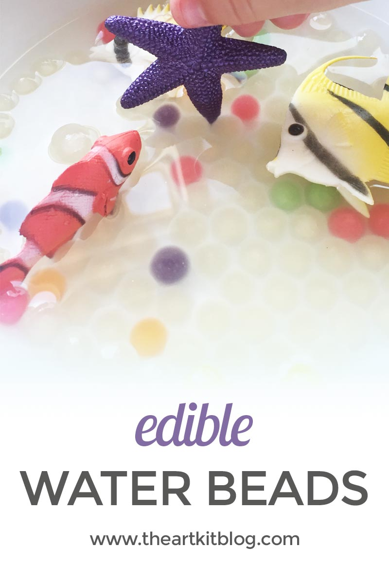 Edible water beads for safe and fun sensory play activity from @theartkit www.theartkitblog.com