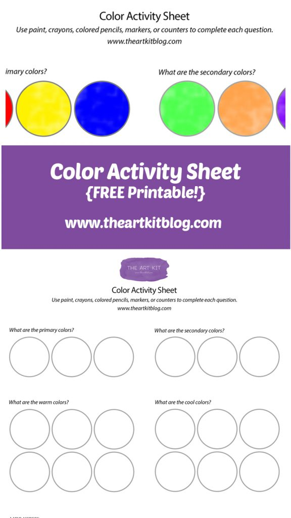 Color Activity Sheet Printable by The Art Kit