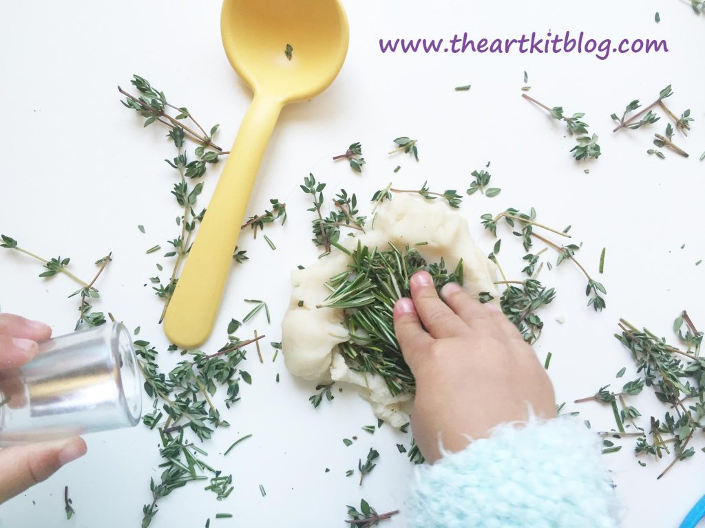 Herb Playdough Recipe - An Invitation to Play - Read More on The Art Kit Blog @theartkit http://www.theartkitblog.com