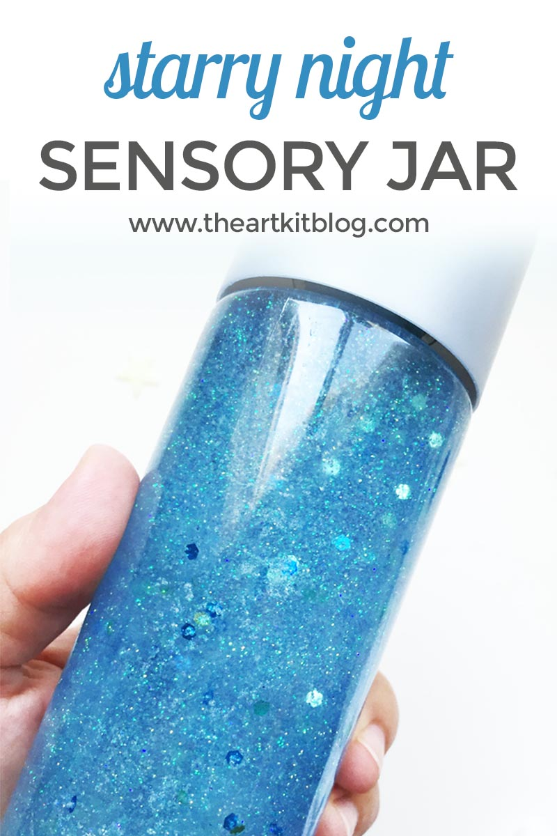 How to make a starry night calming sensory jar in just a few minutes! Click through to discover the easy steps at @theartkit www.theartkitblog.com