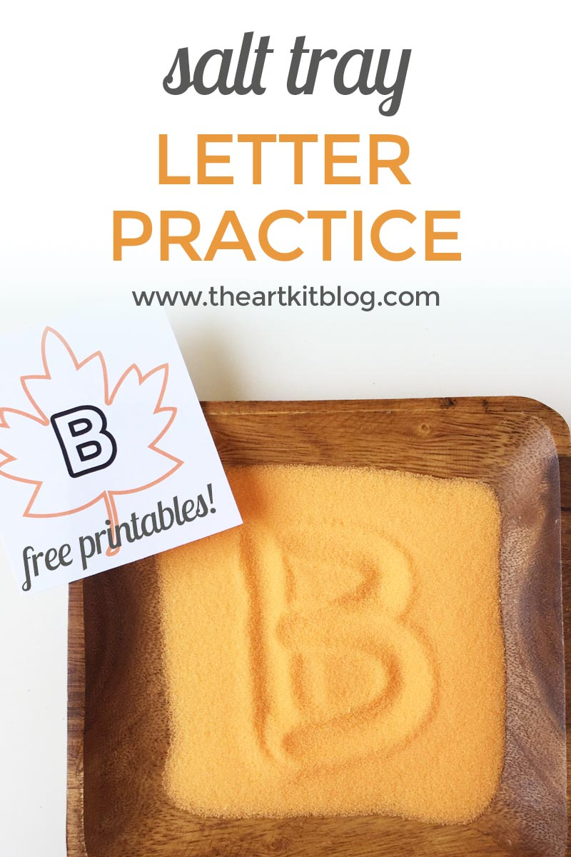 DIY salt tray for letter writing practice with FREE printables! Fall themed fun!