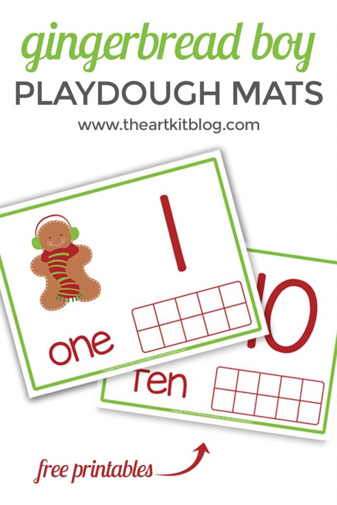 Gingerbread boy counting card. Playdough mat for counting fun at @theartkit www.theartkitblog.com