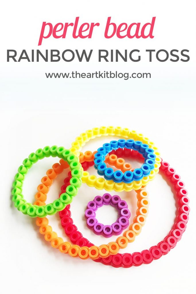 Ring toss DIY from perler beads activity for kids at the art kit