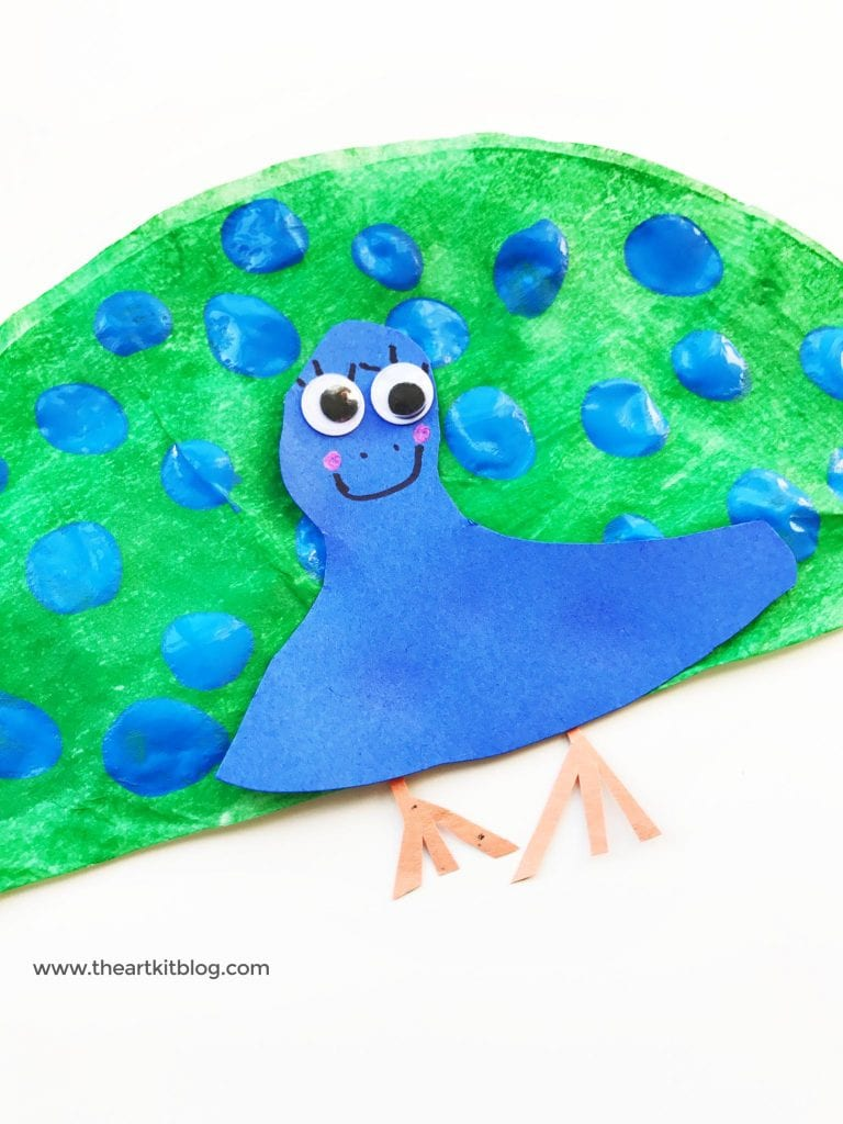 Coffee filter craft - finger painting peacocks