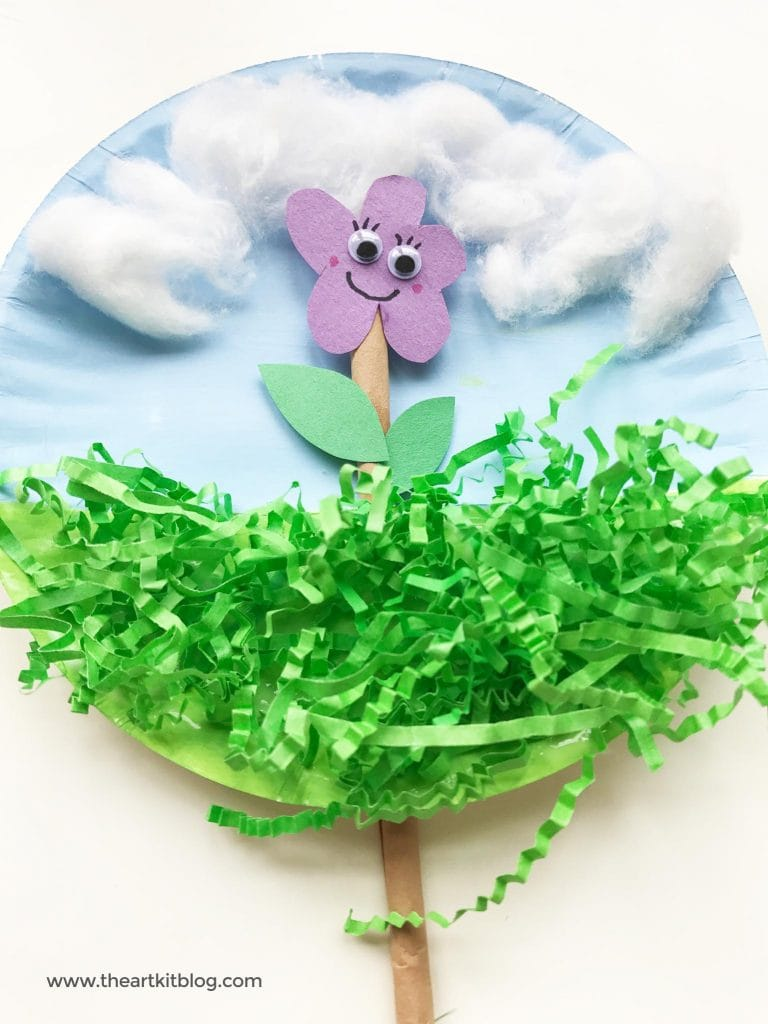Animated paper plate craft for kids flower popsicle sticks the art kit
