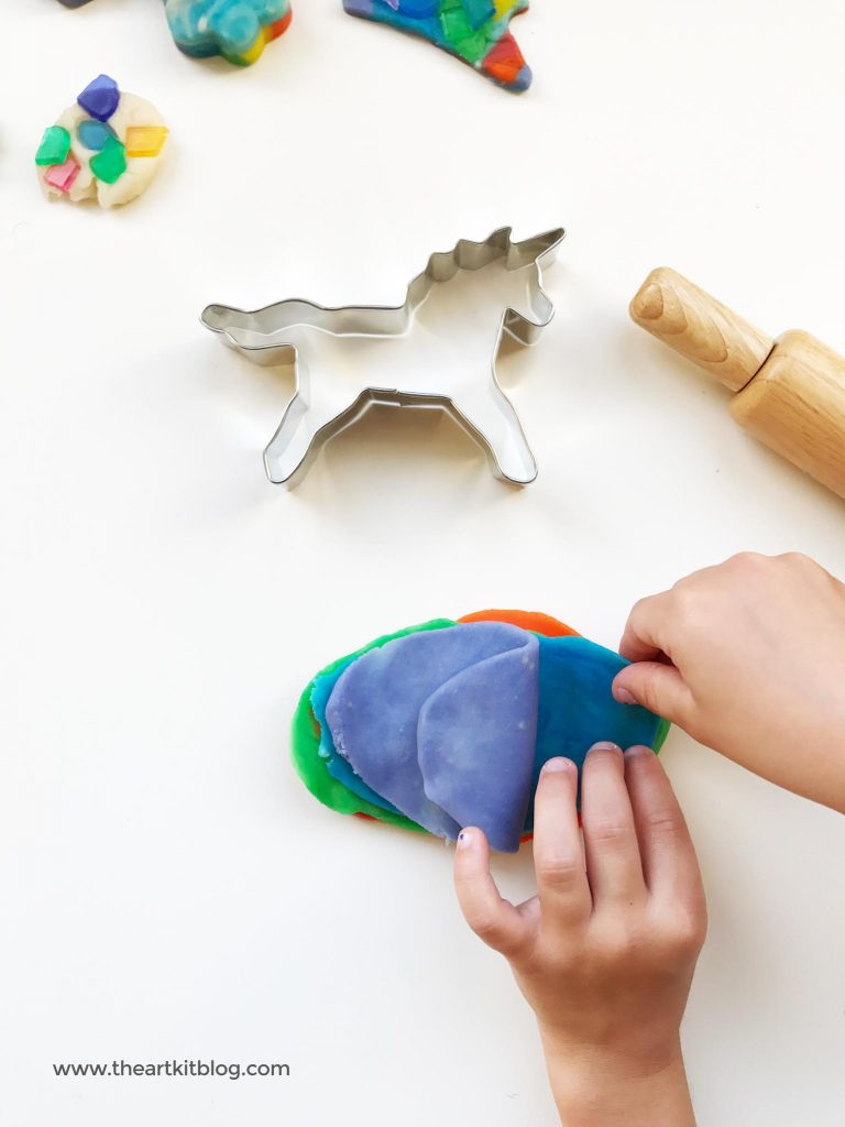 Rainbows and unicorns playdough activity for kids from the art kit blog