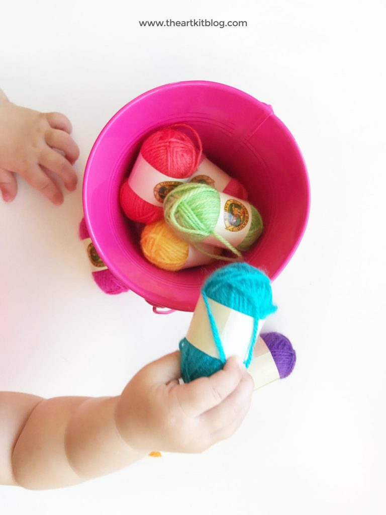 Yarn transfer activity for toddlers or preschoolers