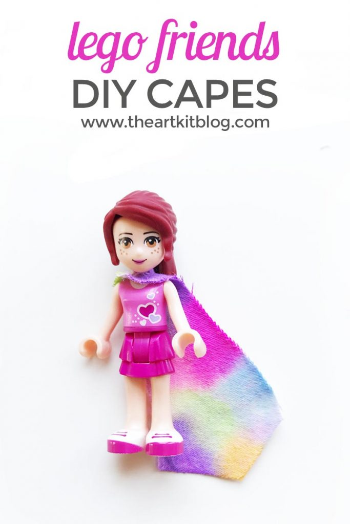 DIY LEGO Friends Capes. We are pretty big LEGO fans around here (particularly LEGO Friends fans), so we thought it was high time we customized our LEGO Friends and decided what better way than with DIY LEGO capes for our mini figures. The kids and I had so much fun painting and decorating our LEGO capes and we were so happy with how well they turned out. If you have LEGO fans at your house, read on to see how we made these awesome capes with supplies we already had at home. @theartkit
