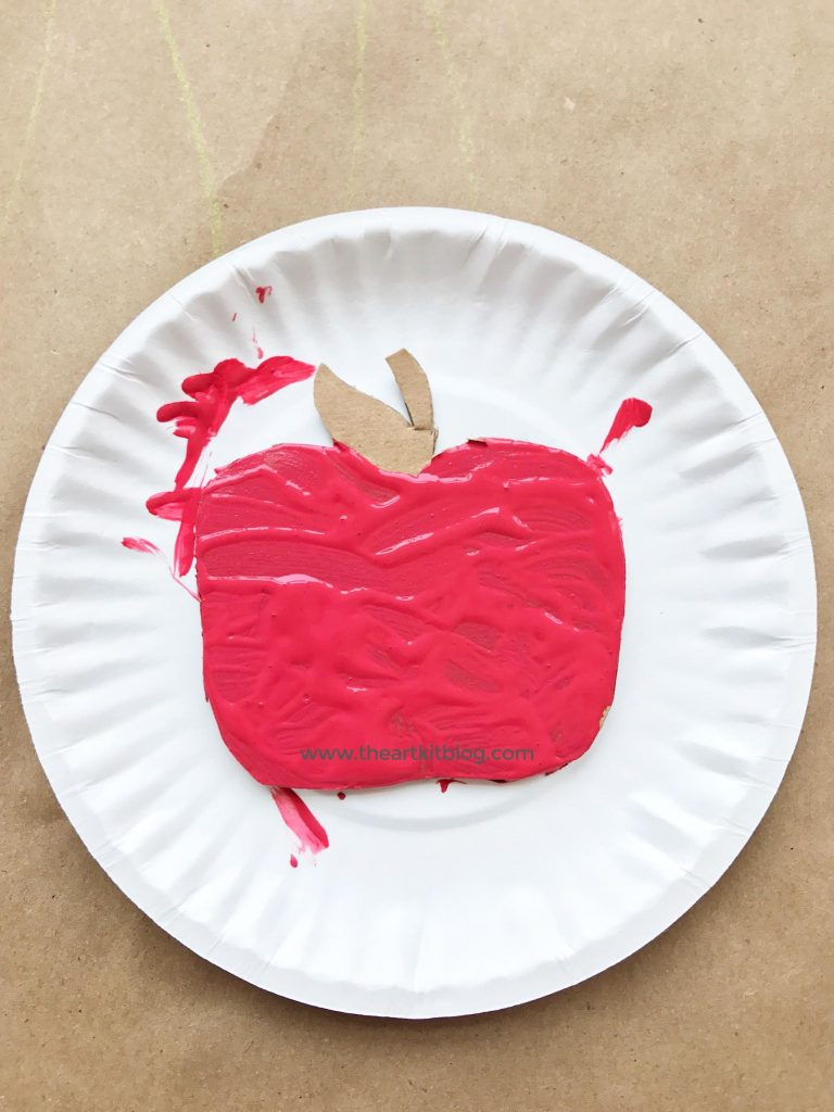 Mixed Media Apple Craft for Kids.