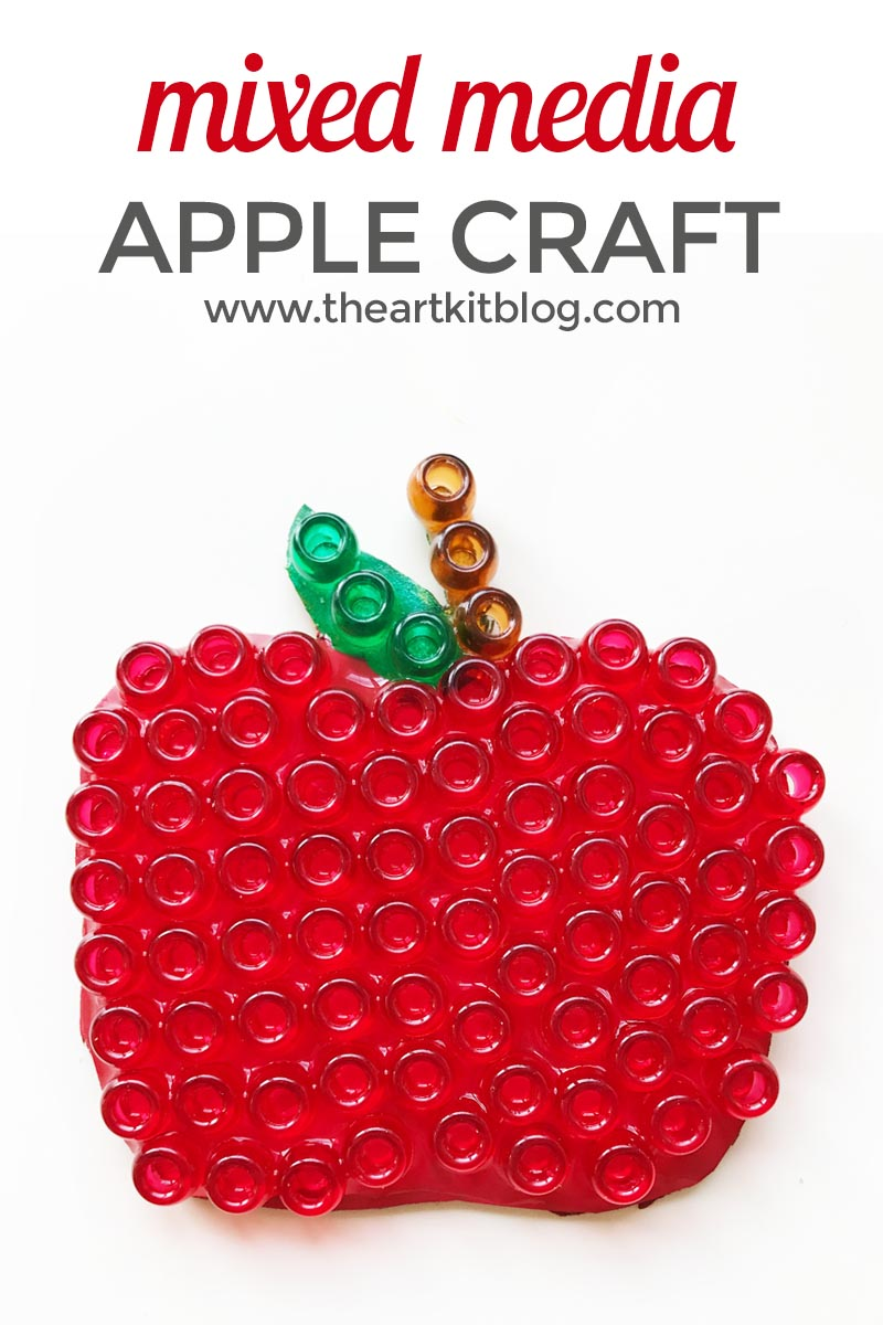 Mixed Media Apple Craft for Kids. We are so excited to share our mixed media apple craft with you today! It's a simple craft that involves a few of our favorite craft supplies- paint, beads, and glue. We were really happy with the results and we know you will too. This would make the perfect back to school craft or fall craft. Or, maybe you're working on the letter