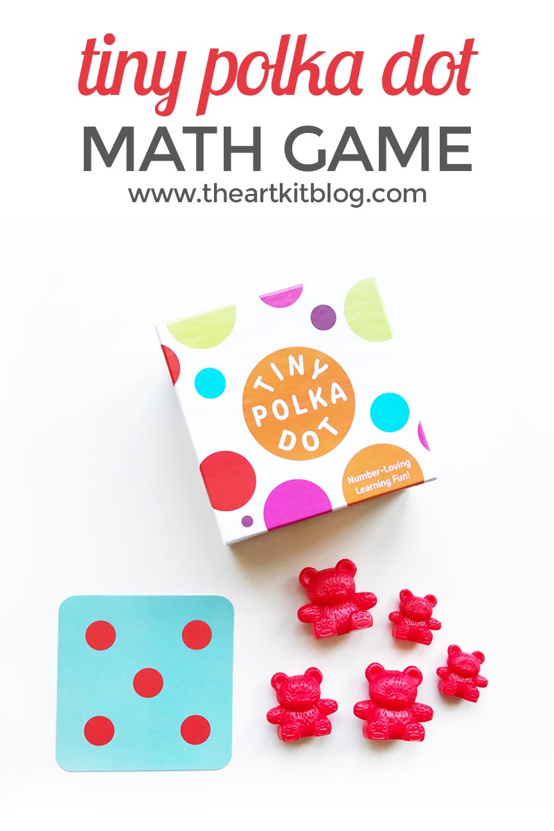 Tiny Polka Dot: Math Game for Kids. We are always on the lookout for fun and educational games and toys for our children, so when we were given the opportunity to review Tiny Polka Dot, we were thrilled! Tiny Polka Dot is perfect for children ages 3-8 (0r older) and packs a lot of fun and learning into one little box of cards. We instantly fell in love with the bright colors, high-quality cards, and easy to follow instructions. To see all the details, as well as a glimpse into the many different games tucked inside this fun box of cards, please continuing reading below. @theartkit