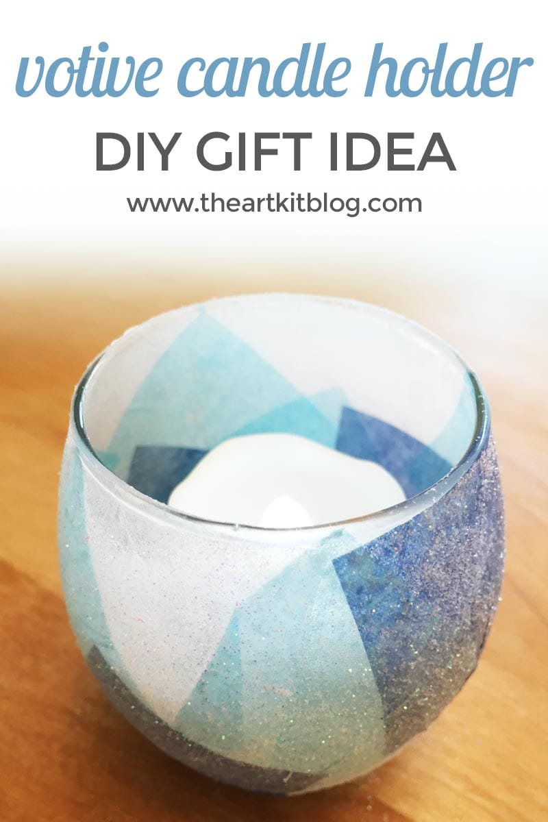 Glitter votive candle craft the art kit for Diy candle crafts