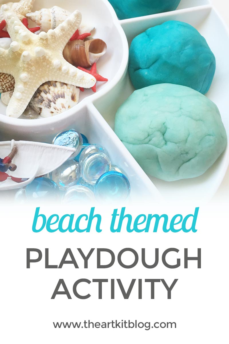 Beach themed playdough invitation to play activity the art kit recipe