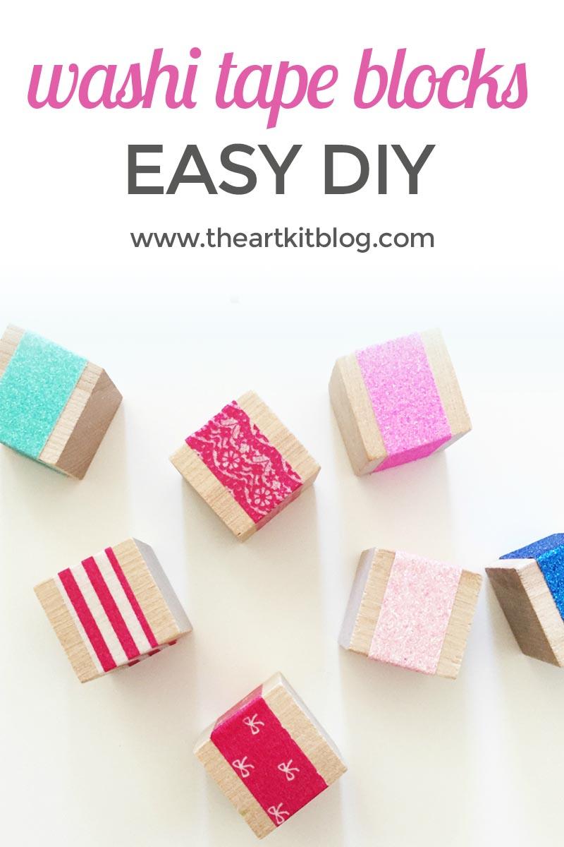Washi Tape (or Glitter Tape!) Blocks {Easy DIY}