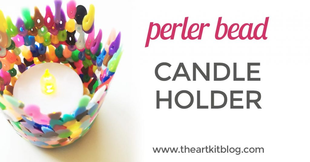 Learn how to easily make perler bead candle holders from www.theartkitblog.com @theartkit