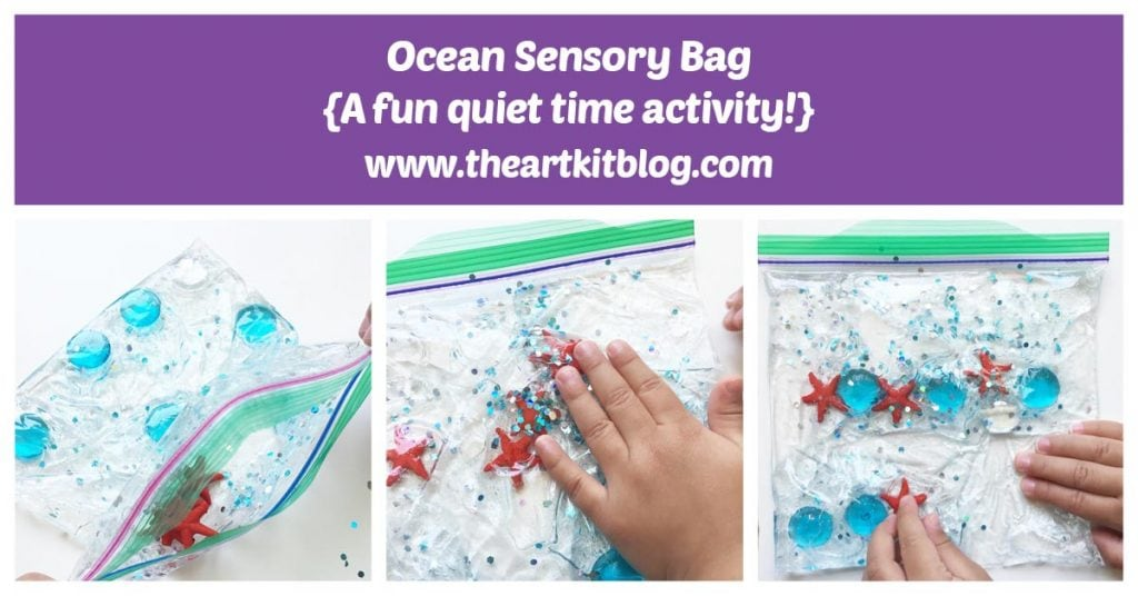 Ocean Sensory Bag - an easy non messy quiet time activity for kids - click through to see how we made them