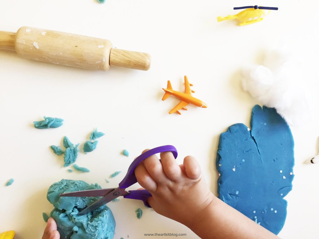 Into the Clouds Playdough Invitation to Play with Cotton Balls by @theartkit www.theartkitblog.com