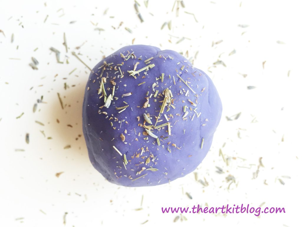 Calming Lavender Playdough Recipe with Lavender Seed Mix-Ins by The Art Kit