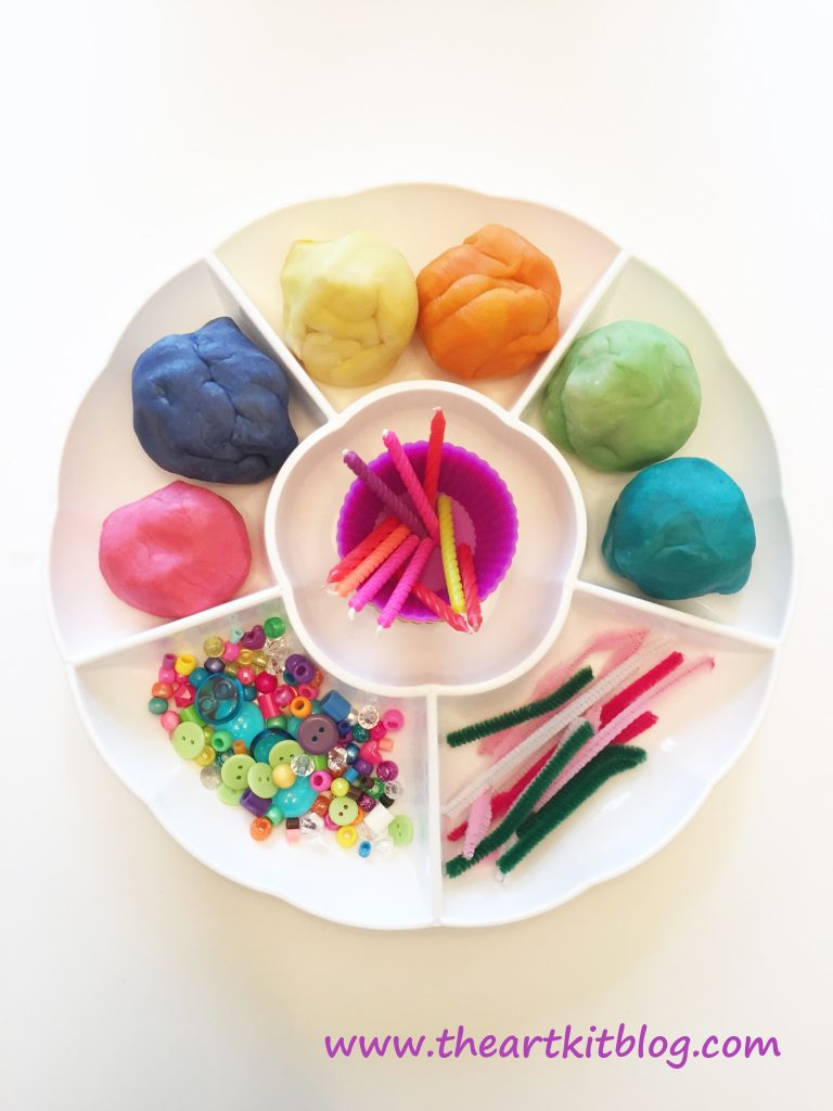 Invitation to Play with Homemade Playdough Cupcakes from The Art Kit Blog Pin for Later