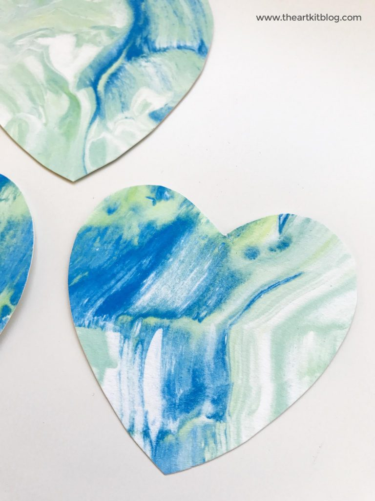 marbled hearts earth day craft shaving cream marbled paint the art kit blog