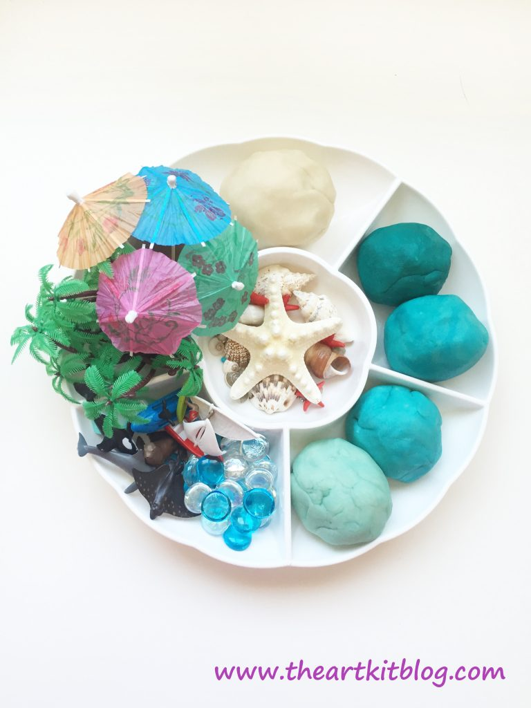 A Beach Themed Invitation to Play with Homemade Playdough from The Art Kit Blog Pin for Later