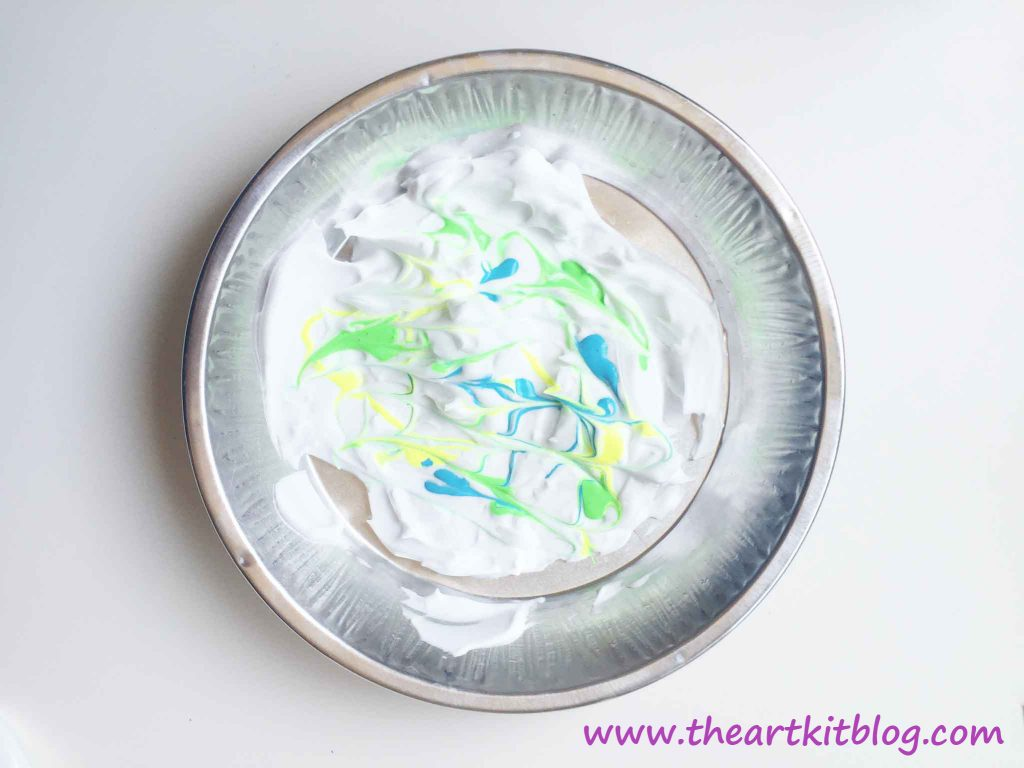 Shaving Cream and Paint Artwork from The Art Kit Blog - Visit the Blog for More Details or Pin for Later