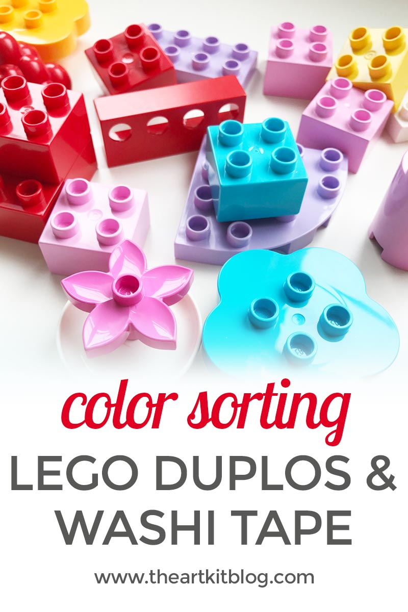 Lego Duplo Color Sorting Activity with Washi Tape