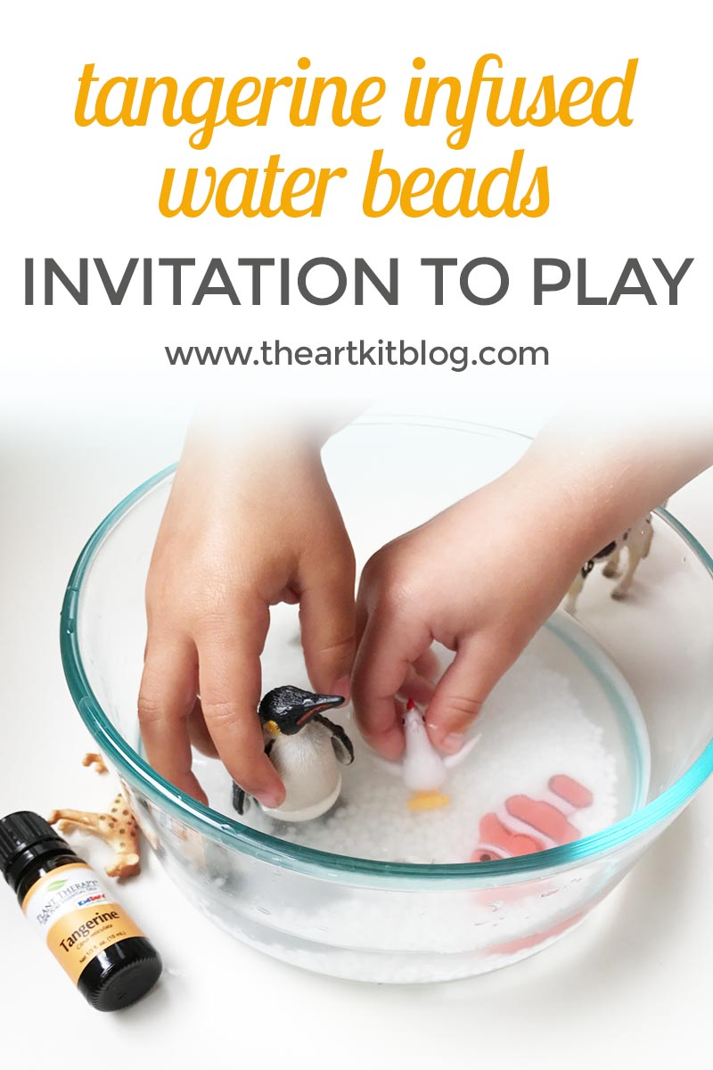 Tangerine Infused Water Beads {A Simple Sensory Invitation to Play}