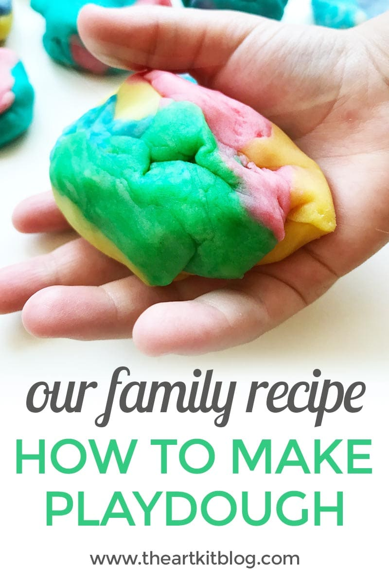 How to make playdough - sharing the family recipe for playdough at @theartkit