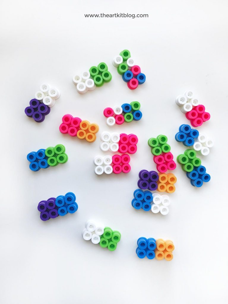 Perler bead activities for kids - diy color dominoes from the art kit