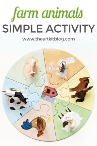 Farm animals matching game with a puzzle