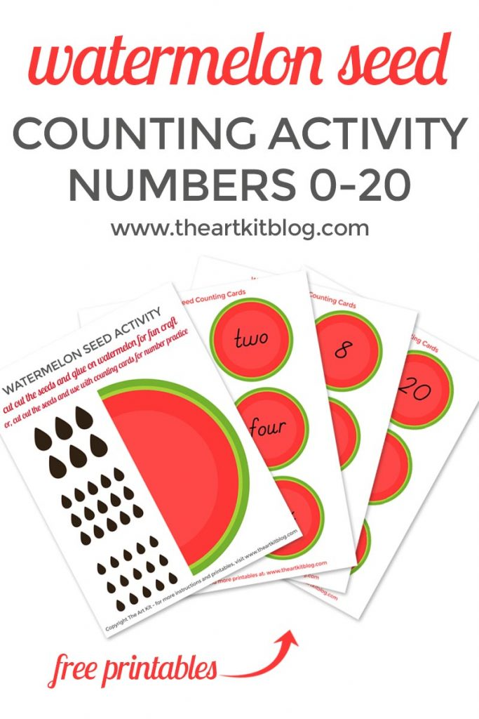 Watermelon Seed Counting Cards Cutting and Pasting Activity for Kids and Playdough Mats with FREE printables from @theartkit
