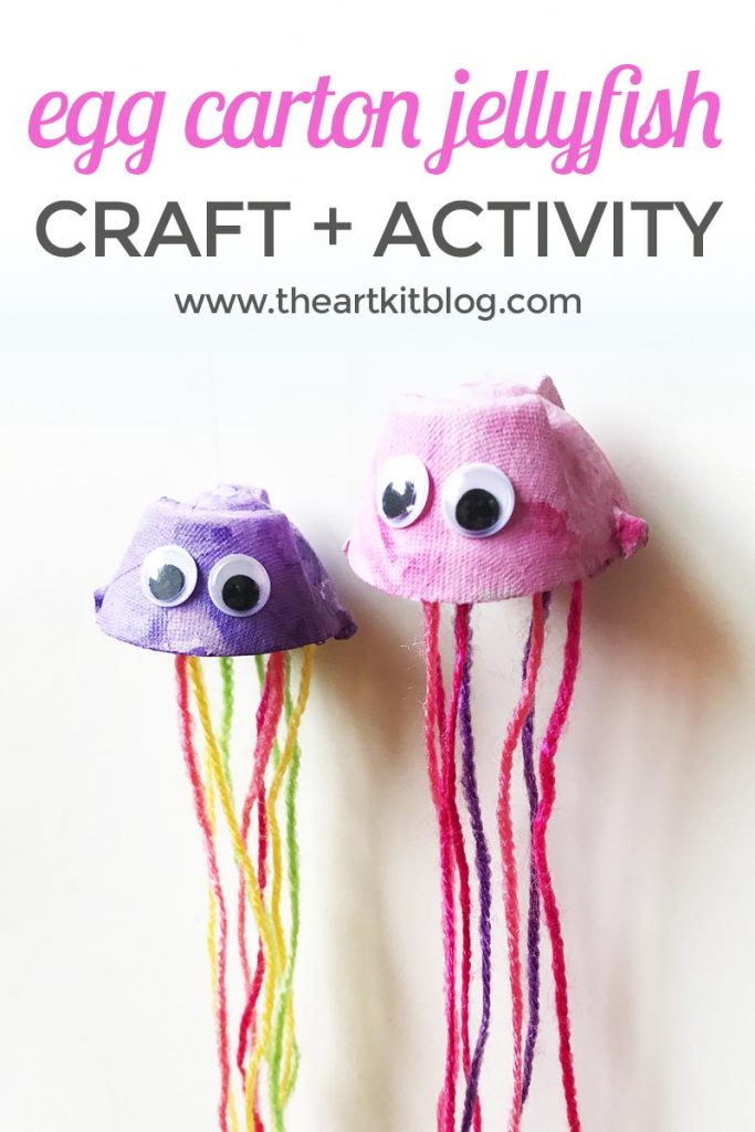 Egg carton jellyfish craft and jellyfish puppets from the art kit blog