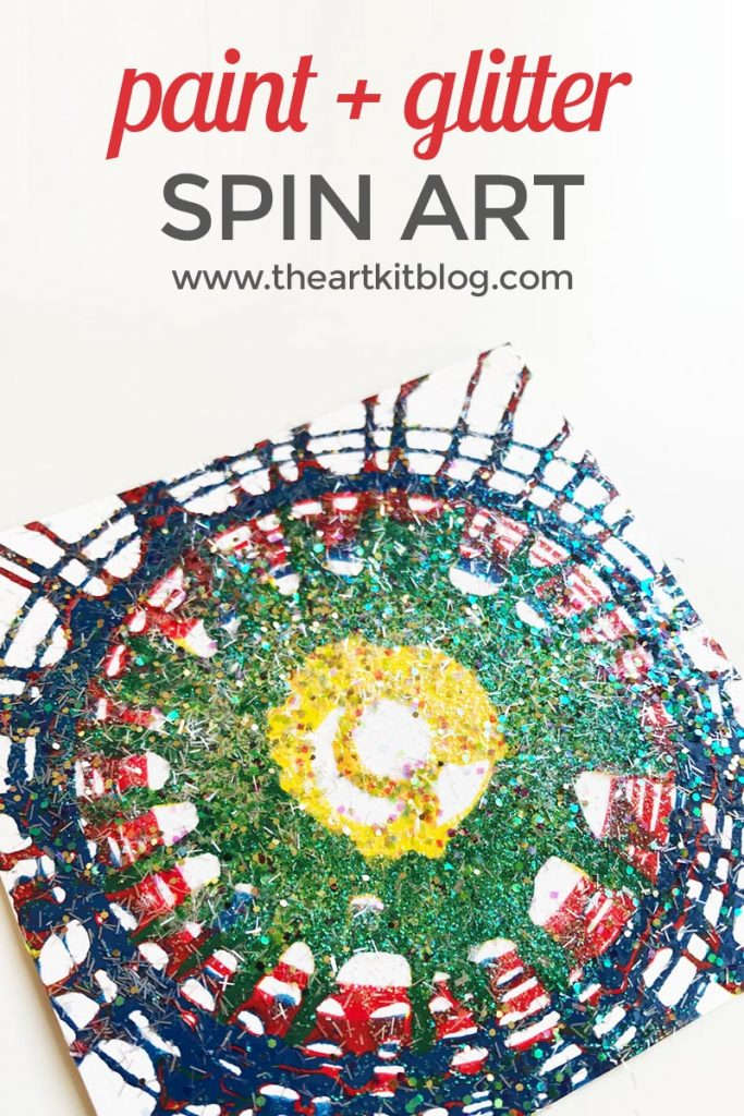 Spin Art {With Paint and Glitter}. Spin art is one of those art experiences that is just so magical. There's a certain sense of unpredictability that makes it so exciting and just when you think you've created the best one yet, the next one surpasses it. I tend to think of spin art as a bit of a mix between shaving cream art and symmetry painting. Sound like fun? Read on to see all the fun we had as well as our tips on how to minimize the mess so that you can maximize your fun. @theartkit www.theartkitblog.com