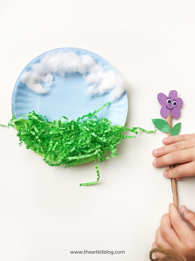 Animated paper plate craft for kids flower popsicle sticks the art kit