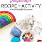 Rainbows and Unicorns Playdough Activity {Playdough Recipe Included}