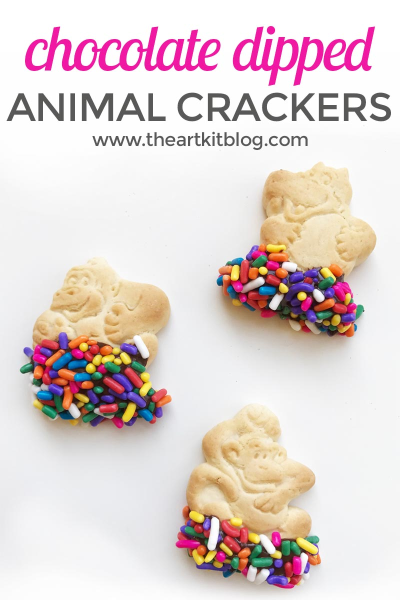Chocolate Dipped Animal Crackers {With Sprinkles}