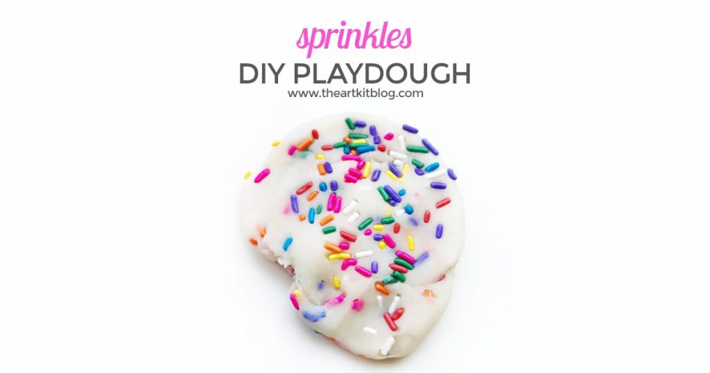 Homemade Playdough with Sprinkles. There is just something about sprinkles that makes a person smile. In fact, it just might be impossible to even look at sprinkles and not instantly feel happier. Sprinkles are synonymous with birthday parties and happy celebrations, and our sprinkle playdough fits the bill. No doubt our homemade playdough recipe with sprinkle mix-ins would make for the perfect birthday party activity or party favor but why wait for a party to enjoy sprinkles? We say celebrate today and what better way than with sprinkle playdough. So, without further ado, please read on for our easy, one-pot playdough recipe and all the delicious pictures of this celebratory playdough invitation to play.