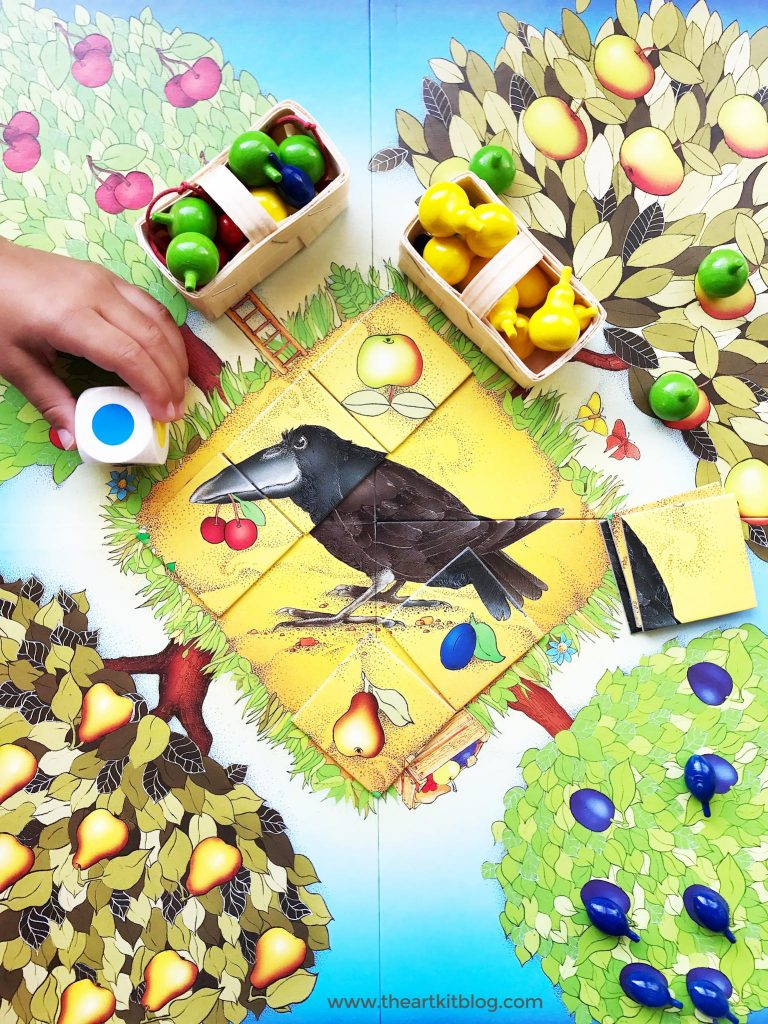HABA orchard game review from The Art Kit Blog. Quality and educational games for kids and families.