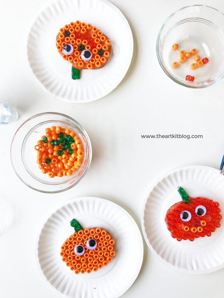 Cardboard Pumkin Craft For Kids Fall Painting Beads Jack O