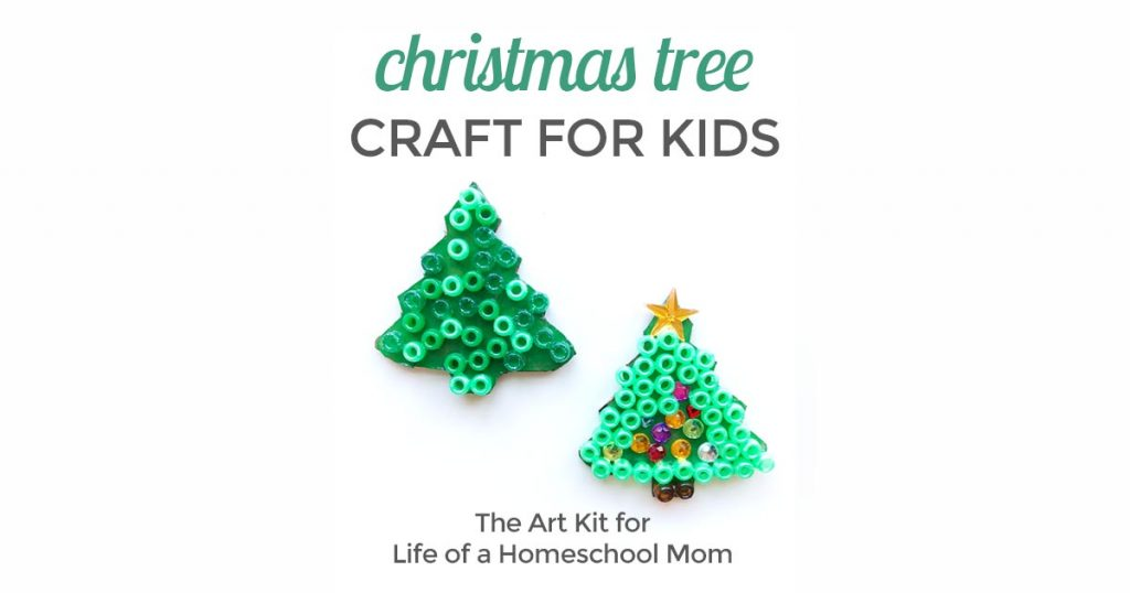 Easy Christmas tree craft for kids by the art kit blog for life of a homeschool mom