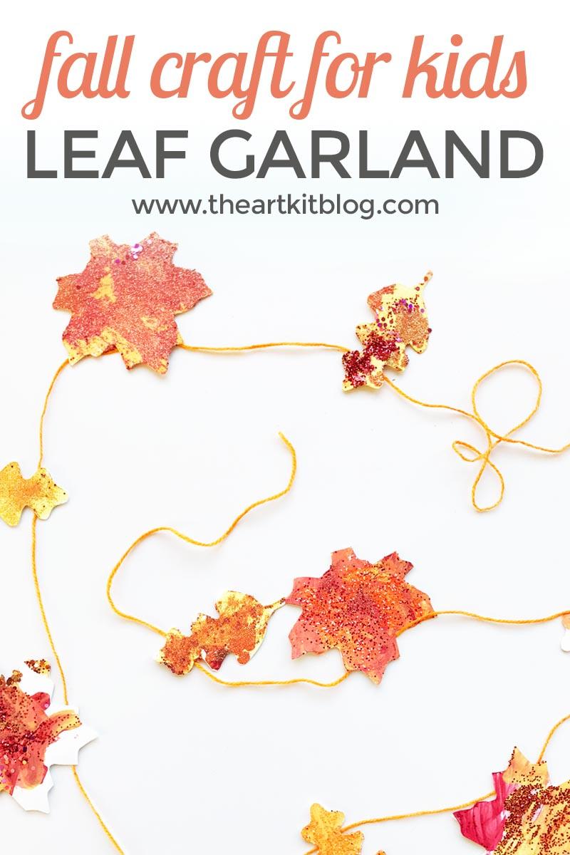 Fall craft for kids: leaf garland