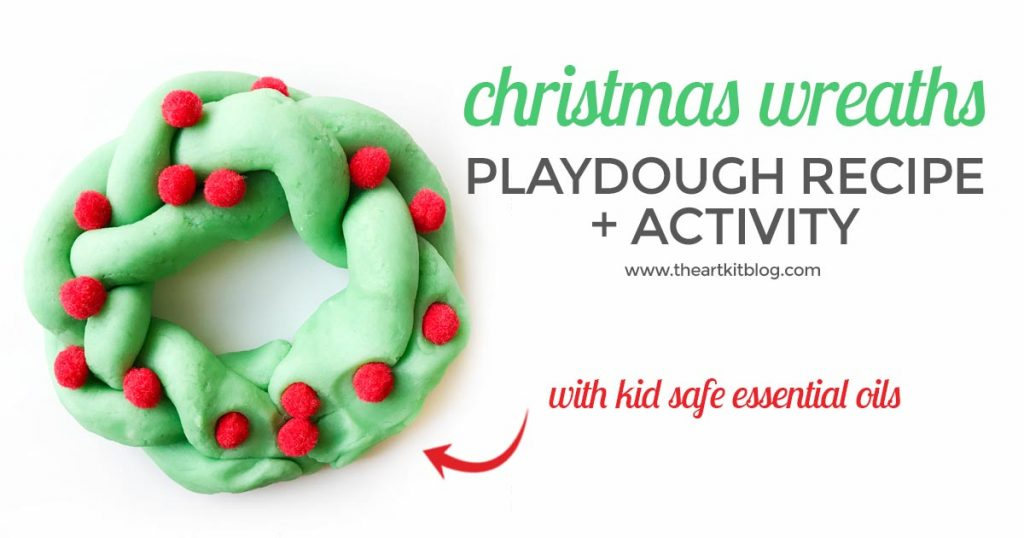 Christmas wreath playdough recipe homemade play dough from the art kit blog using kid safe essential oils