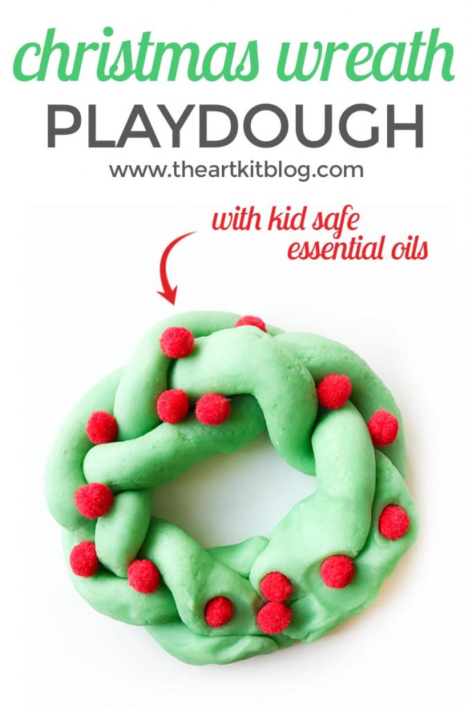 Playdough Christmas wreaths recipe homemade play dough from the art kit blog using kid safe essential oils
