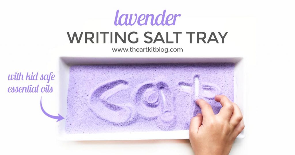 Calming Lavender Salt Tray Writing Activity for kids prewriting montessori sensory