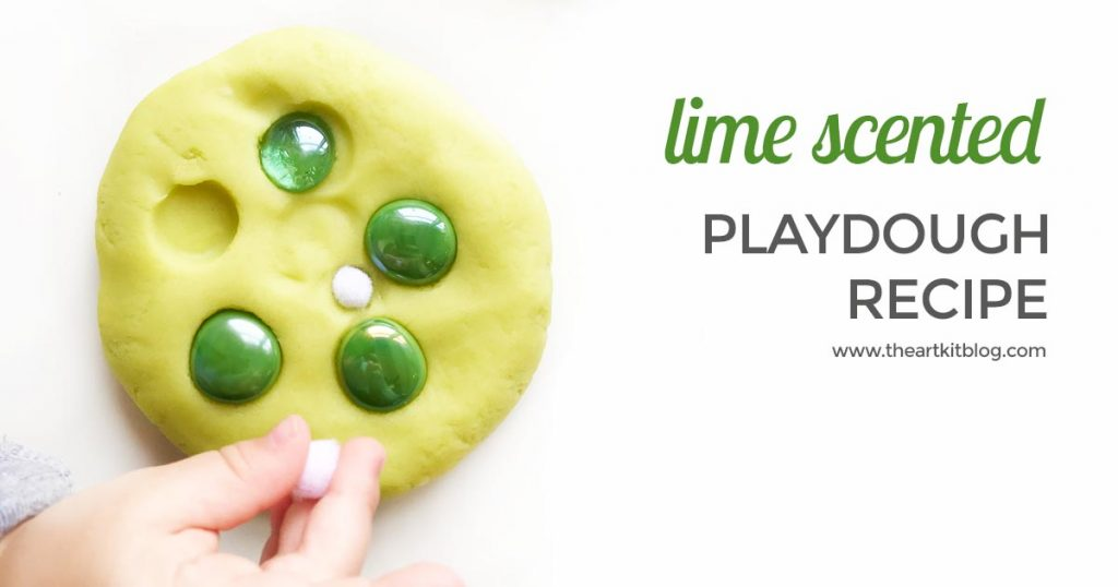 Lime playdough scented with kid safe lime essential oils homemade play dough by the art kit