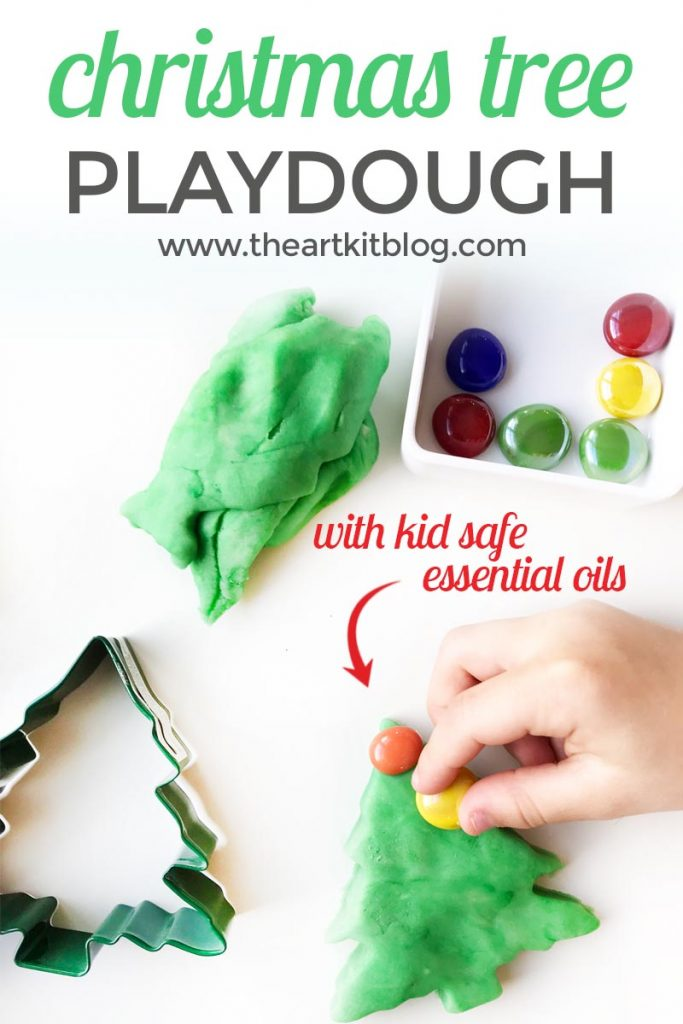 Christmas tree playdough recipe and activity for kids by the art kit blog with kid safe essential oils by plant therapy