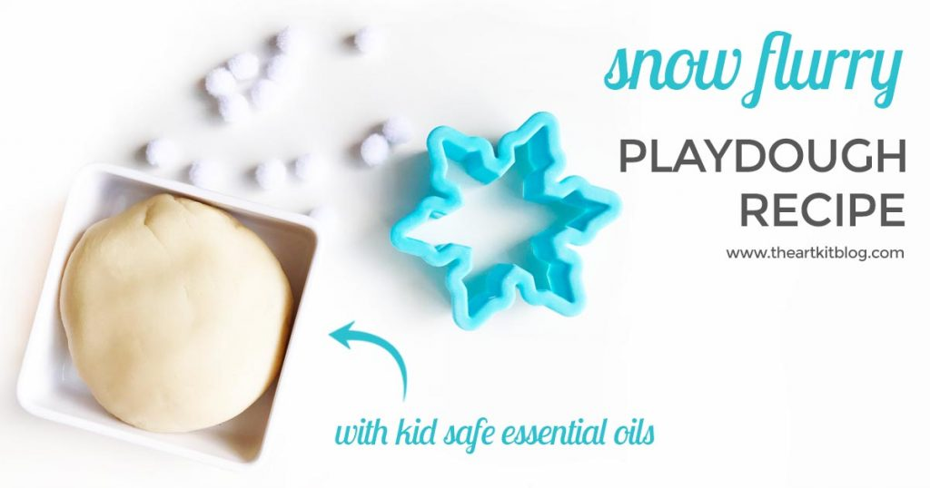 Snow playdough recipe scented with kid safe essential oils by plant therapy