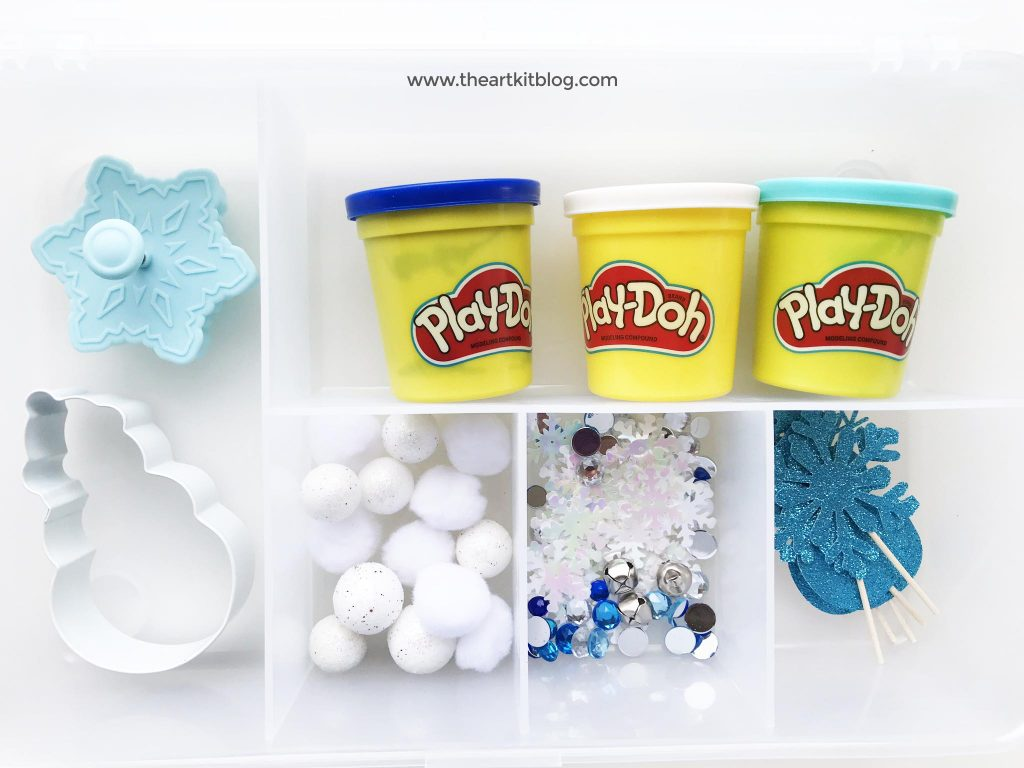 Winter playdough kit play dough mat for kids the art kit blog